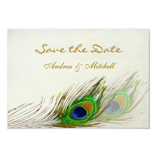 """Green blue peacock feathers Save the date Invite 3.5"""" X 5"""" Invitation Card"""
