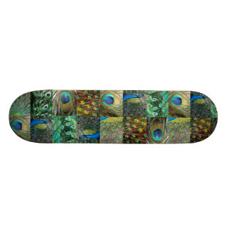 Green Blue Peacock photo collage Skate Board