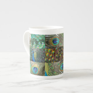 Green Blue Peacock photo collage Tea Cup