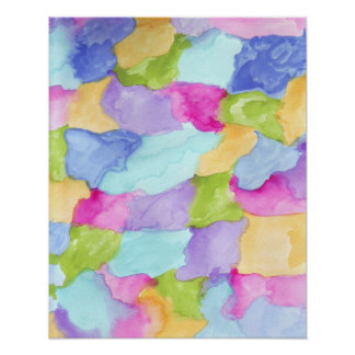 Green Blue Pink Yellow Purple Water Color Poster