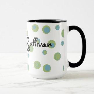 Green Blue Polka Dots Monogrammed Mug