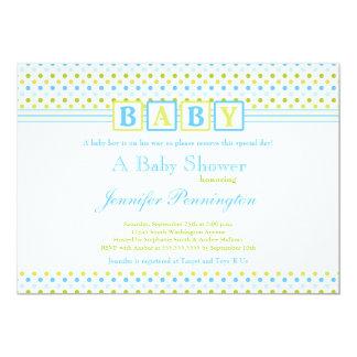 Green blue polkadots boy baby shower invitation