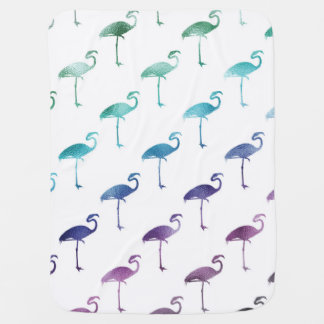 Green Blue Purple Flamingo Watercolor Tropical Baby Blanket
