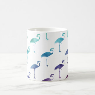 Green Blue Purple Flamingo Watercolor Tropical Basic White Mug