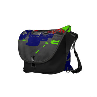 Green Blue Red Cars Courier Bag