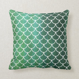 Green Blue Scallop Scale Watercolor Wash Pillow