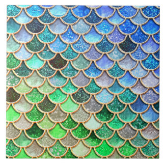 Green Blue Shiny Ombre Glitter Mermaid Scales Ceramic Tile