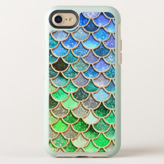 Green Blue Shiny Ombre Glitter Mermaid Scales OtterBox Symmetry iPhone 8/7 Case
