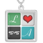 Green & Blue SIS Sisters Necklace