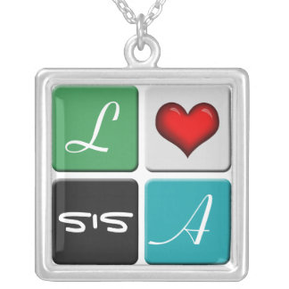 Green Blue SIS Sisters Necklace