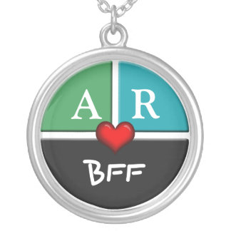 Green Blue Slice Round BFF Friendship Necklace