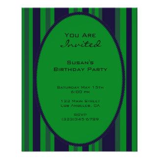 green blue striped party 11.5 cm x 14 cm flyer