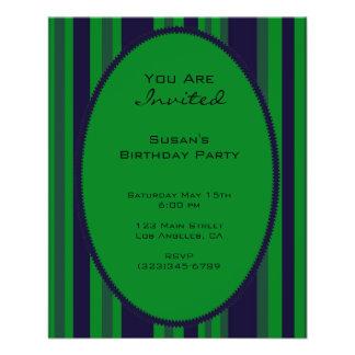 green blue striped party 11.5 cm x 14 cm flyer