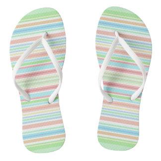 """Green / Blue Stripes"" flip flops with Slim Straps Thongs"