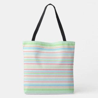 """Green / Blue Stripes"" tote bag."