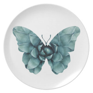 Green blue succulent butterfly silhouette plates