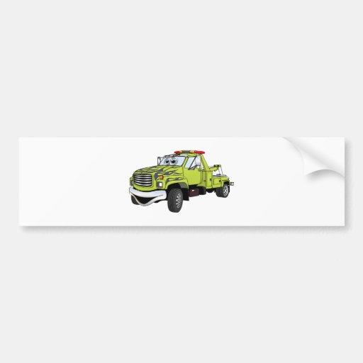 Green Blue Tow Truck Cartoon Bumper Sticker