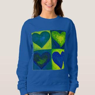Green Blue Watercolor Heart Hearts Art Sweatshirt