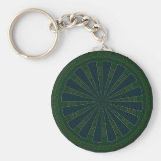 Green & Blue Wheel Kaleidoscope Basic Round Button Key Ring