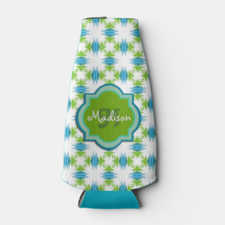 Green, Blue, White Monogram Funky Geometric Bottle Cooler