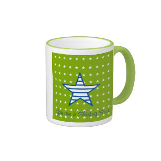 Green Blue White Stars & Stripes Gifts Coffee Mugs