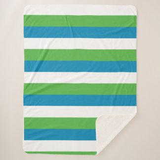 Green Blue White Stripe Sherpa Blanket