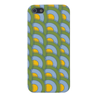 GREEN BLUE YELLOW CONCENTRIC CIRCLES iPhone 5 COVER