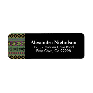 Green Boho Aztec Pattern Hipster Tribal Return Address Label