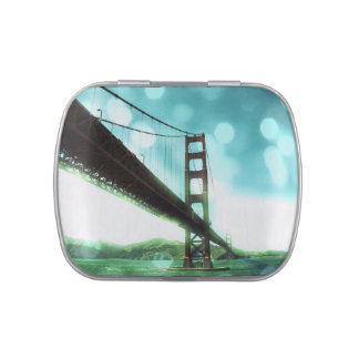 Green Bokeh Golden Gate Bridge Candy Tins