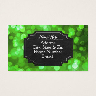 Green Bokeh Light Chalkboard Business Cards