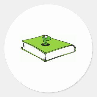 Green Book Worm Round Sticker