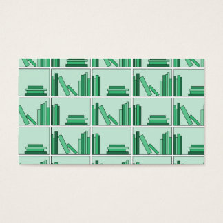 Green Books on Shelf. Business Card