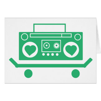 Green boombox with hearts for speakers on a skate greeting card