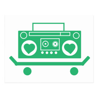 Green boombox with hearts for speakers on a skate postcard