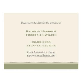 Green border custom wedding save the date postcard