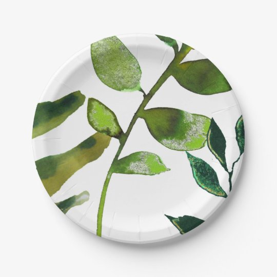 Green Botanical Glam Plant Leaves Elegant Wedding 7 Inch Paper Plate