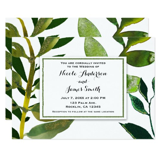 Green Botanical Glam Plant Leaves Elegant Wedding Card