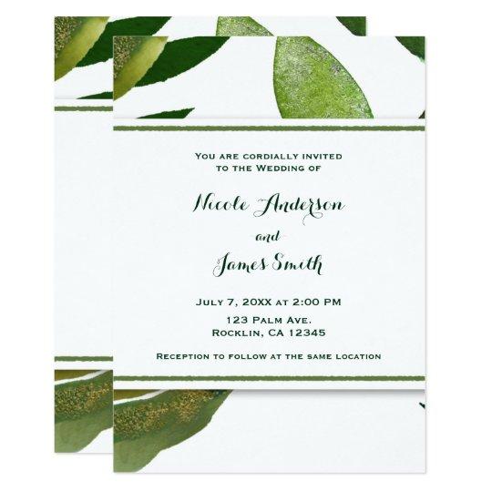 Green Botanical Glam Plant Leaves Elegant Wedding Card