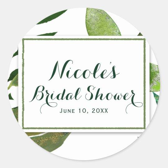 Green Botanical Glam Plant Leaves Elegant Wedding Classic Round Sticker
