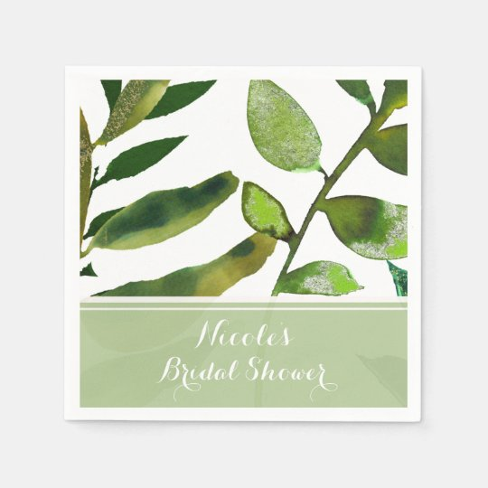 Green Botanical Glam Plant Leaves Elegant Wedding Paper Napkin