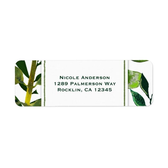 Green Botanical Glam Plant Leaves Elegant Wedding Return Address Label