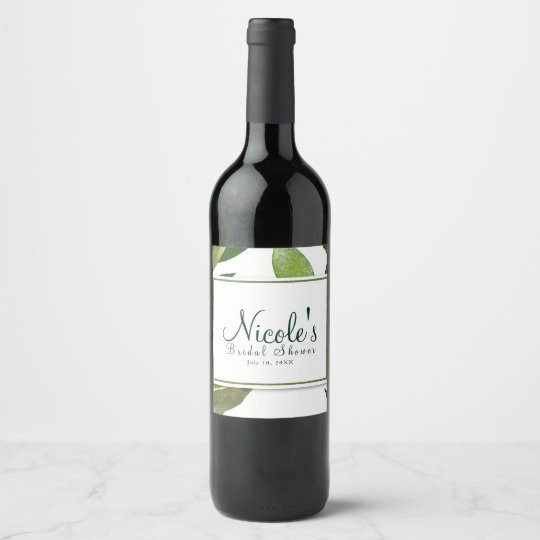 Green Botanical Glam Plant Leaves Elegant Wine Wine Label