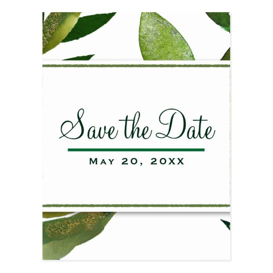 Green Botanical Glam Plant Leaves Save the Date Postcard