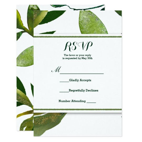 Green Botanical Glam Plant Leaves Wedding RSVP Card