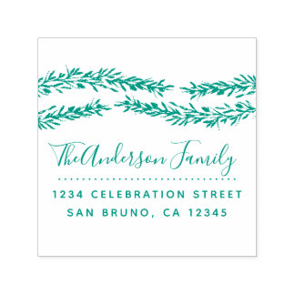 Green Botanical Leaves | Family Return Address Self-inking Stamp