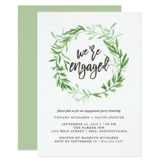 Green Botanical Leaves Wreath Engagement Party Card