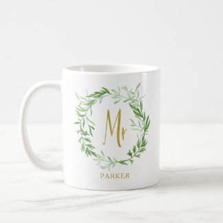 Green Botanical Leaves Wreath | Faux Gold Mr Coffee Mug