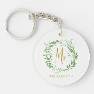 Green Botanical Leaves Wreath | Faux Gold Mr Key Ring
