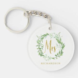 Green Botanical Leaves Wreath | Faux Gold Mrs Key Ring