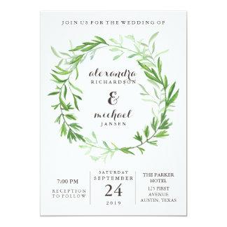 Green Botanical Leaves Wreath Wedding Card